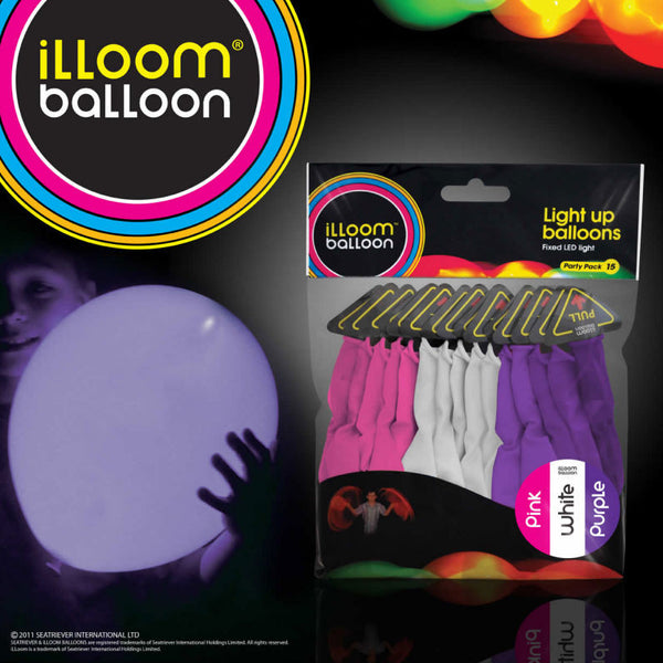 illoom Balloon Pink, Purple And White 15 Pack