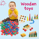 Wooden Puzzles Toys Memory Match Stick Chess Game Fun Puzzle Board Game Educational Color Cognitive Geometric shape Toys