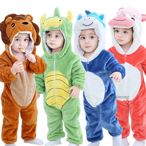 Baby Boy/Girl Flannel Onesie - Cartoon pajamas warm winter animal - Baby rompers