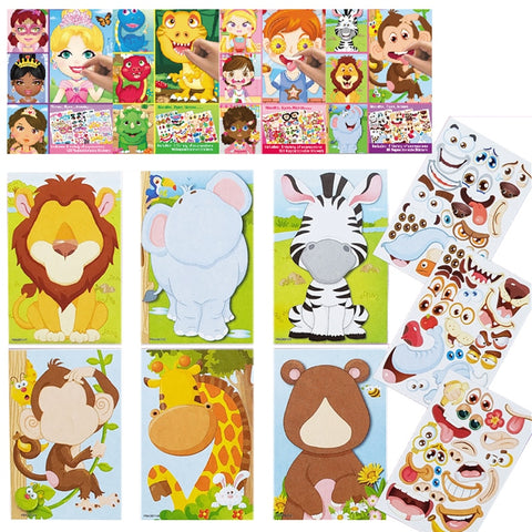 DIY Stickers Puzzle Games Make-a-Face Princess Animal Dinosaur Assemble Jigsaw Children Recognition Kids Educational Toys