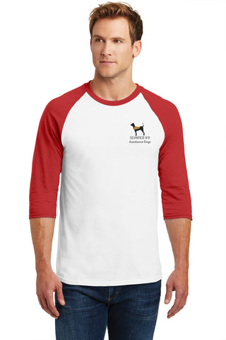 Semper K9 3/4 Sleeve Heavy Cotton Raglan Baseball Tee