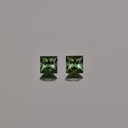 1.21ctw Square Radiant Green Tourmaline Pair 6mm
