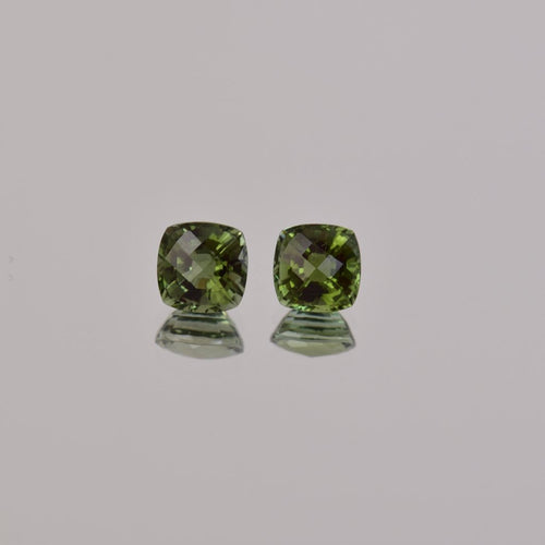 2.09ctw Square Cushion Green Tourmaline Pair