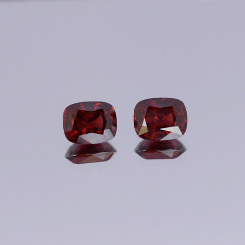 7.41ct Cushion Red Spinel Pair