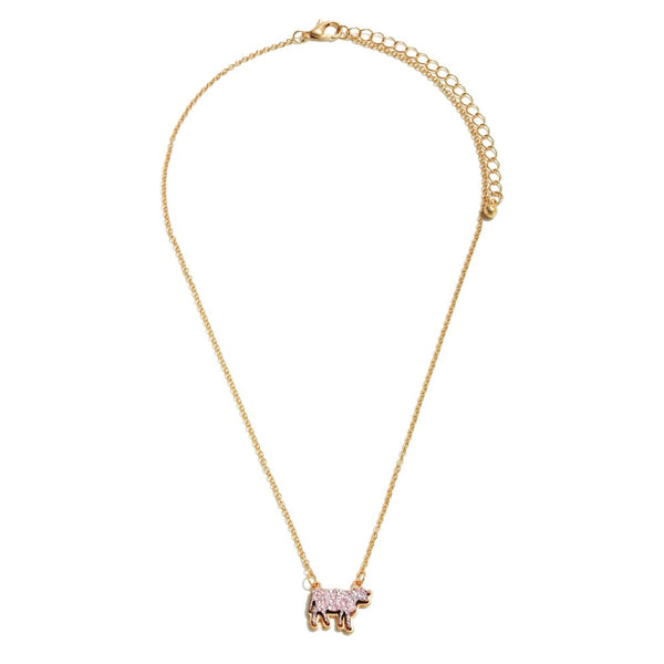 Druzy Cow Necklace- Rose Gold