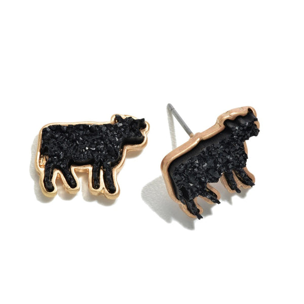 Druzy Cow Stud Earrings