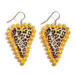 Mustard Leopard Heart Earrings