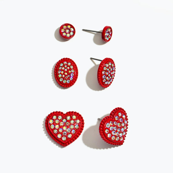 Red Heart Earrings- 3 pair