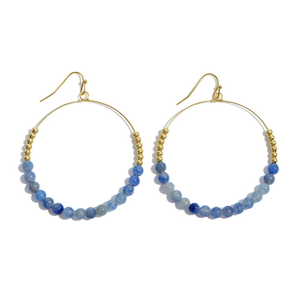 Happy Beaded Earrings- Blues