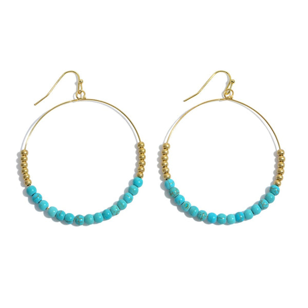 Happy Beaded Earrings- Aqua