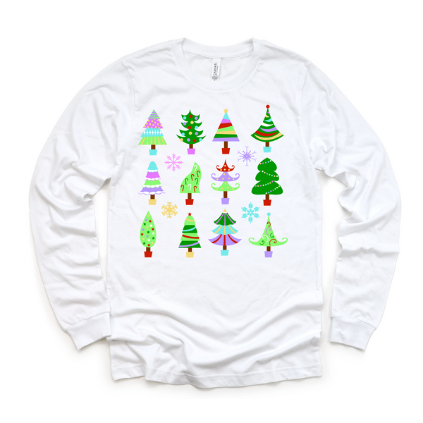 Colorful Tree Collage on White- (Apparel Options)