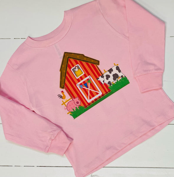 Barn Buddies Pink Long Sleeve Toddler Tee