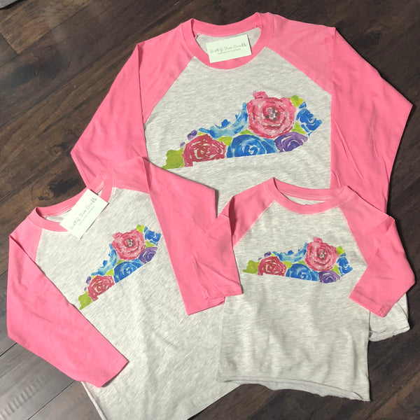 KY State Floral Pink Raglan-Youth