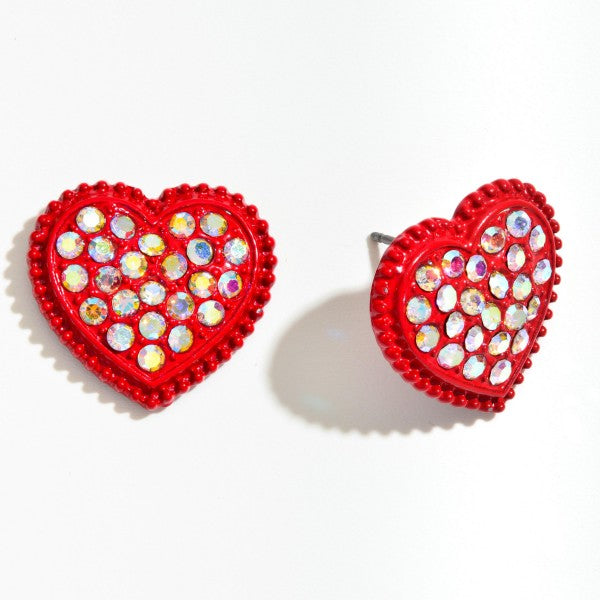 Red StudHeart Earrings