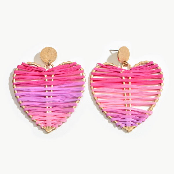 Ombre' Heart Raffia Earrings