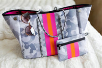 Neoprene Carry All Tote & Clutch-Grey Camo