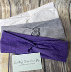 School Spirit Knot Headbands- 3 pack- Purple