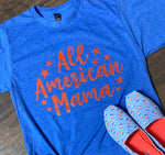 All American Mama Tee-Royal Blue