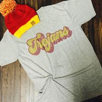 Trojans Grey Retro Tee