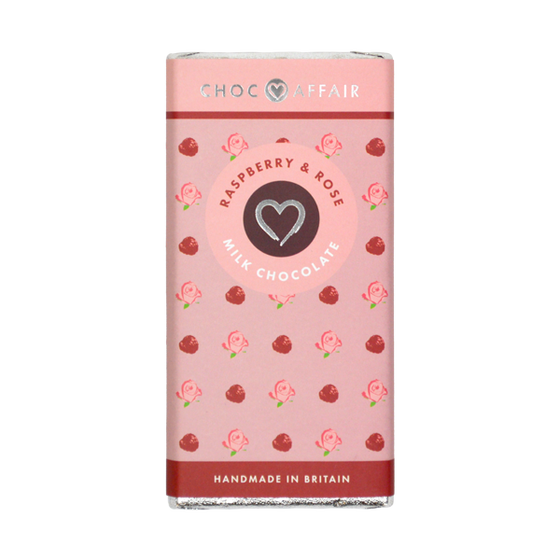 Raspberry and Rose Milk Chocolate Bar 90g