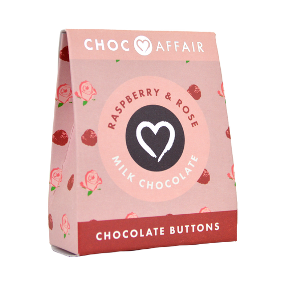 Raspberry and Rose buttons Chocolate Buttons 40g