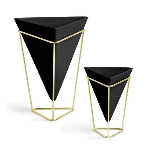 Trigg Tabletop Vase Set- Black and Brass
