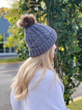 Knitted Toque - Removable Pom - Grey