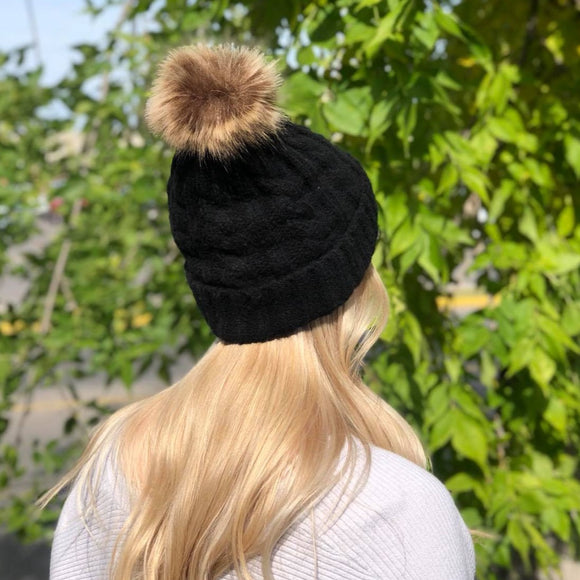 Knitted Toque - Removable Pom - Black