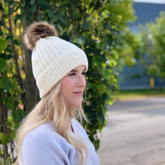 Knitted Toque - Removable Pom - White