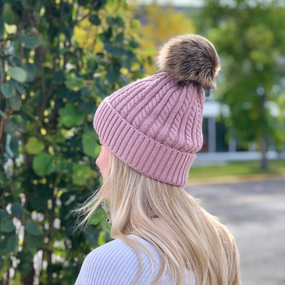 Knitted Toque - Removable Pom - Pink