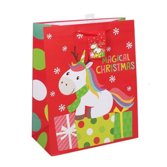 Large Gift Bag - Holiday Unicorn