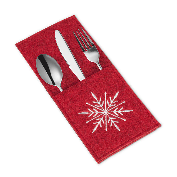 Cutlery Pocket - Red Snowflake