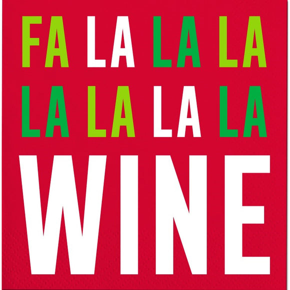 Holiday Cocktail Napkin -  Fa La La Wine