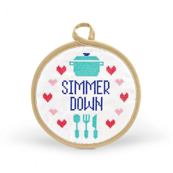 Embroidered Pot Holder - Simmer Down