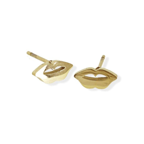 Stud Earring - Lips - Gold