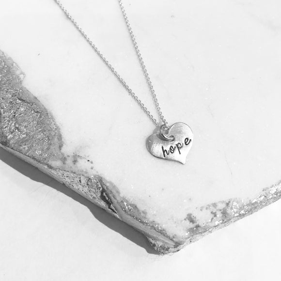 Necklace - Scripted Heart - Hope
