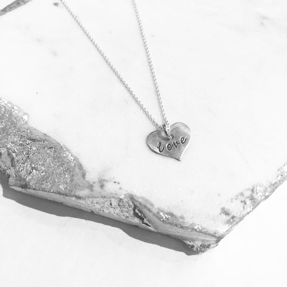 Necklace - Scripted Heart - Love