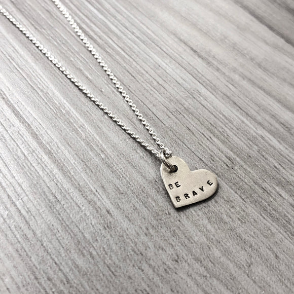 Necklace - Small Heart - Be Brave