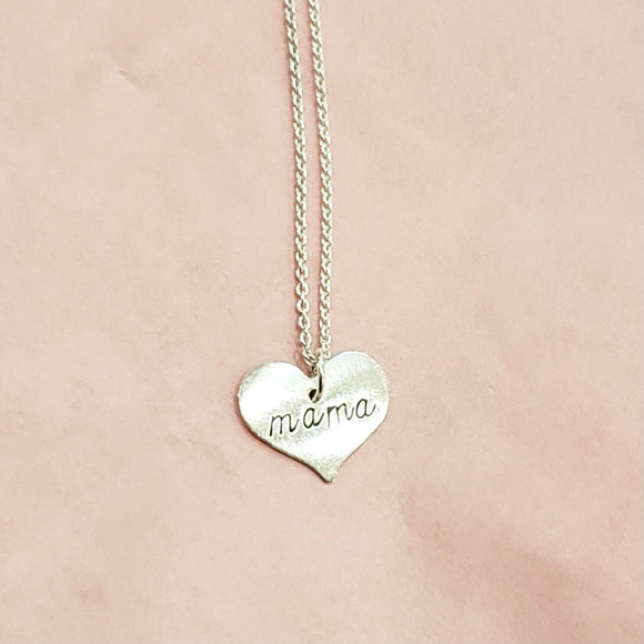 Necklace - Scripted Heart - Mama