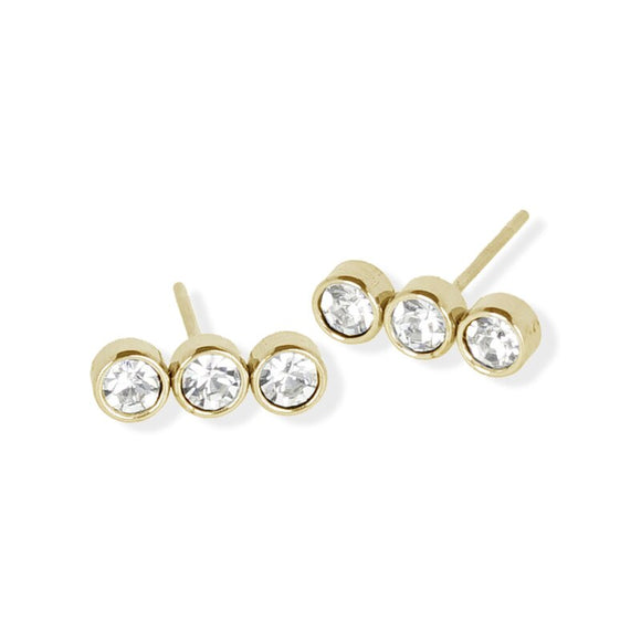 Stud Earring - Triple Crystal Linear - Gold
