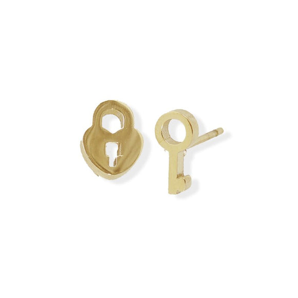 Stud Earring - Lock & Key - Gold