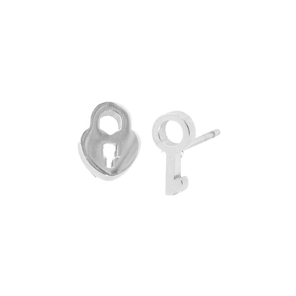 Stud Earring - Lock & Key - Silver