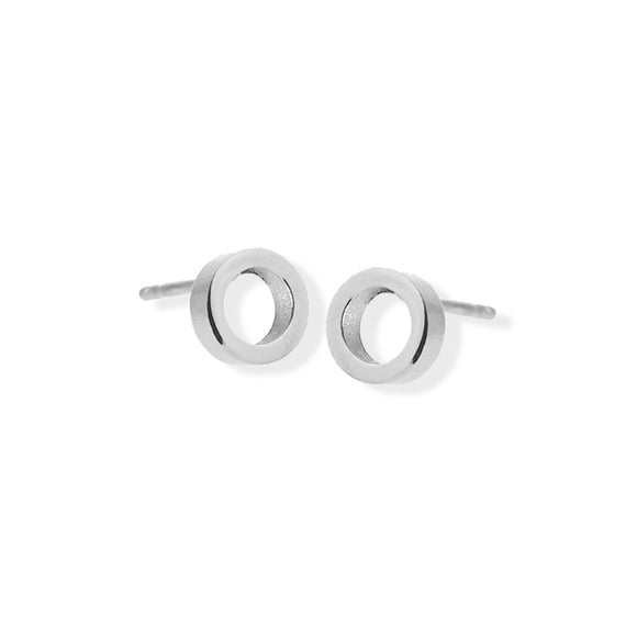 Stud Earring - Open Circle - Silver