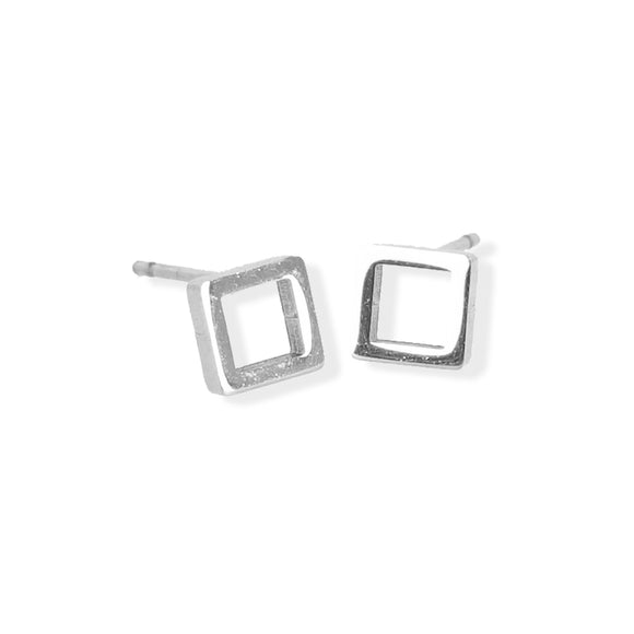 Stud Earring - Open Square - Silver