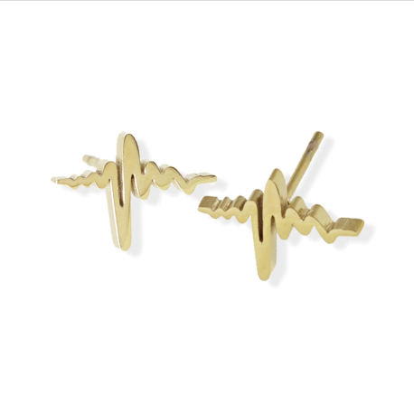 Stud Earring - Heartbeat - Gold