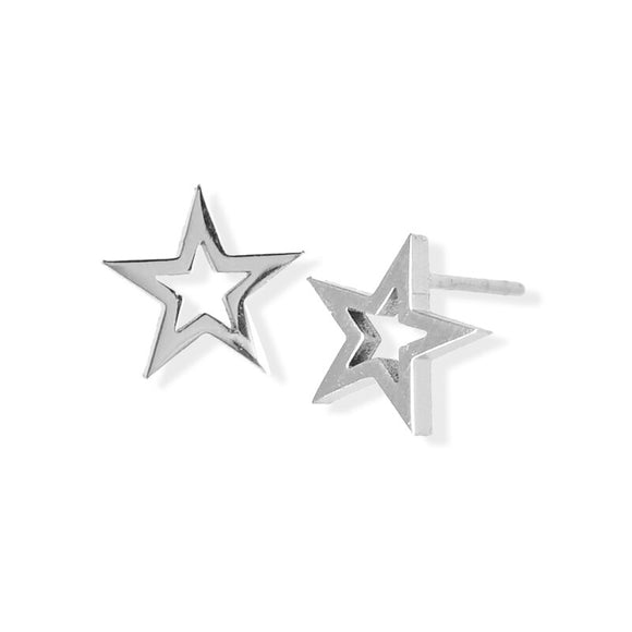 Stud Earring - Open Star - Silver