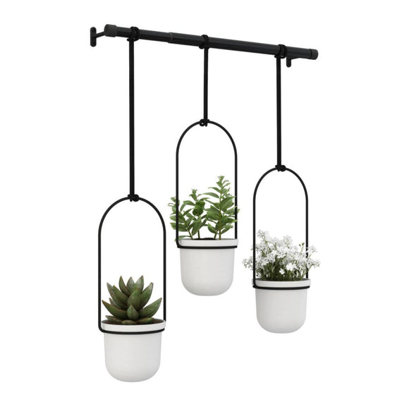 Triflora Hanging Planter - White
