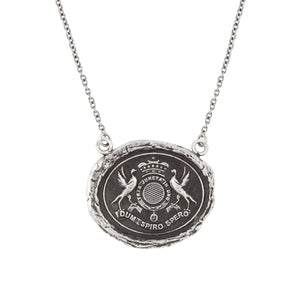 Pyrrha Talisman Necklace - While I Breathe I Hope - Silver
