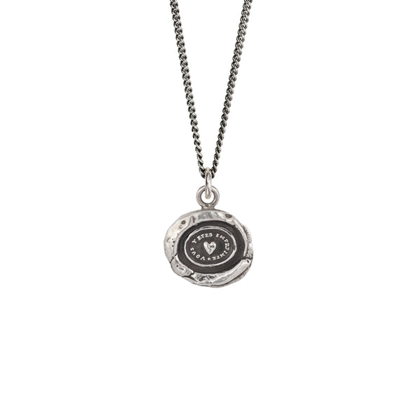 Pyrrha Talisman Necklace - Heart Print - Silver