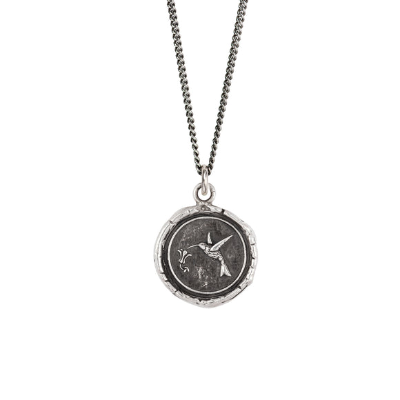 Pyrrha Talisman Necklace - Hummingbird - Silver